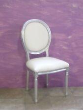 Sedia in legno massello foglia argento ecopelle bianca