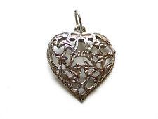 Beautiful Heart Filigree Pierced Sterling Silver Pendant