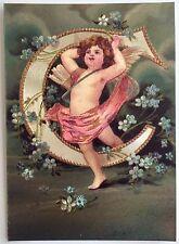 """*Vintage ANGEL ALPHABET LETTER """"C"""" Floral FOIL POSTCARD Clapsaddle FORGET-ME-NOT"""