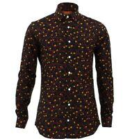 Mens Shirt Loud Originals TAILORED FIT Cells Black Retro Psychedelic Fancy