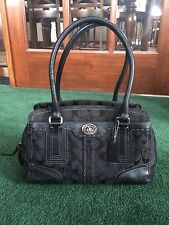 COACH HAMPTON SIGNATURE BLACK / LEATHER SATCHEL CARRYALL BAG K0771-11592
