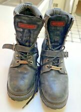 Harley Davidson LOGO Black leather motorcycle Biker boots~USA Size 10