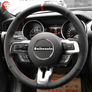 DIY Hand Sewing Black Suede Car Steering Wheel Cover for Ford Mustang 2015-2020