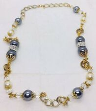 Lawrence VRBA Vintage Gold Plated & Faux Pearl Long Necklace