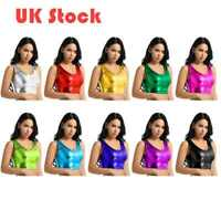 UK# Metallic Shiny Womens Wetlook Crop Tank Tops Vest Disco Dance Blouse T-Shirt