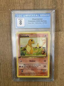 Pokemon Glumanda 1. Edition Deutsch 46/102 Base Basis Set CGC 8 Near Mint PSA