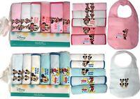 Baby Boys Girls Disney Mickey Minnie Mouse 6 Piece Pack Bibs Feeding Gift Cotton