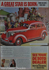 1938 De Soto advertising page, DE SOTO Automobile, actress Janet Gayner, Desoto