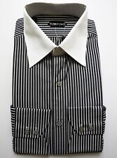 $670 NWT TOM FORD Blue Striped French Cuff Cotton Dress Shirt Size 17 US 43 Euro
