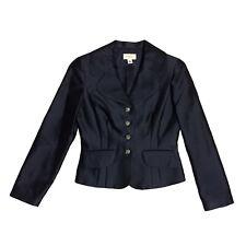 NWT Talbots Women's Navy Blazer Size 4 Silk Fitted Button Up Jacket ORIG $288