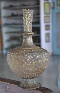 Rare Old Brass Handcrafted Temple, Animals & Sadhu Engraved Flower Vase