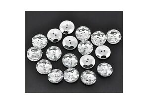 """20 Acrylic Sewing Buttons 2 Holes Round Clear & Silver Plated Faceted 18mm- 6/8"""""""