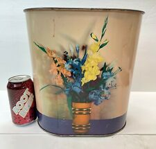 Vintage Mid Century National Can Co Tin Litho WASTE BASKET Pink w/ Flowers