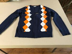 Women's Lady Hagen Navy/Orange/White Argyle V-Neck Zippered Golf Sweater M