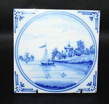 18th Century Antique Dutch Delft Tile - Sailboat Scene - vgc