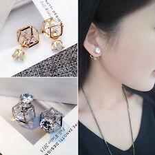 Ladies Double Side Zircon Crown Stud Earring (SILVER)