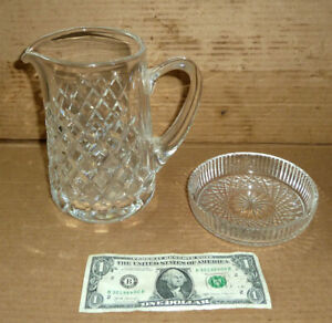"Vintage WATERFORD Water Pitched 7"",& Coaster 5"" Dia. Crystal Glass,Old Drinking"