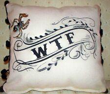"Jkc Studio ""Wtf"" Canvas Throw Pillow & Silver Black Widow Spider Brooch / Pin"