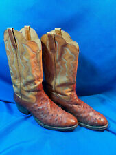 "Vintage Ostrich Leather Exotic Cowboy Boots Cat's Paw Rare Nice 11"" long x 4"" in"