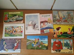 9 x old comic postcards from c1911 onwards. 3 posted with stamps &  postmarks.