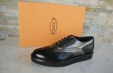 Tods Tod´s 36,5 Schnürschuhe Halbschuhe Schuhe schwarz + silber neu ehem.UVP430€