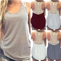 Fashion Women Summer Lace Vest Top Short Sleeve Blouse Casual Tank Tops T-Shirt