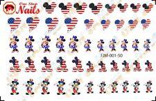 4th of July Mickey Disney Waterslide Nail Art Decals. FJM-001-50