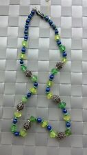 Lapis Malachik Vaseline Blue Green Colored Sterling Silver Necklace 925 Clasp