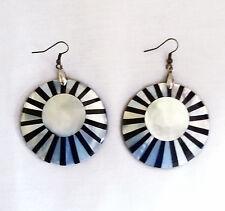 Black & White Pearlescent  Sundial Dangle French Hook Earrings