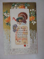 VINTAGE EMBOSSED THANKSGIVING POSTCARD TURKEY W/FRUIT & A GREETING 1913