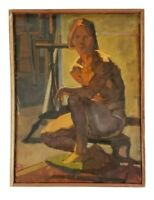 Vintage Well Executed Mid Century Fine Art Nude Studio Model Figure Oil Painting