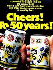"Iron City Beer Pittsburgh Steelers 50th Regional Original 1982 Print Ad 8.5x11"""