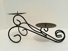 """Black Wrought Iron Candle Holder - Scroll 2 Tier - 10"""" long - 3"""" Pillar Candles"""