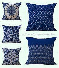 US SELLER-set of 5 couch pillows cushion covers blue Chinese porcelain geometric