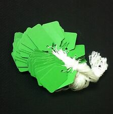 1000 pre-strung tags, GREEN string tags price tags, merchandise pricing