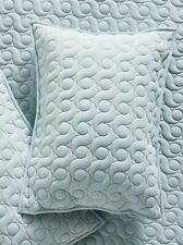 Anthropologie Embroidered Light Blue Ainsley Standard Sham Textured Quilted NEW