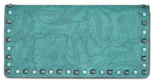 INC International Concepts $89 NWT Anna Sui Tooled Studded Turquoise Teal Clutch