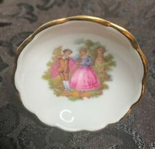Limoges Castel Porcelain Trinket Dish White Gold Courting Couple Free Shipping