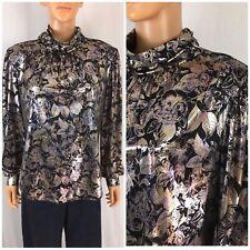 New listing Vintage 80s 90s Liquid Satin Blouse High Collar Foil Metallic Leaf Print 14 L/Xl