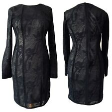 Reiss Black Kitty Lace Bodycon Dress Long Sleeves Party Office Lined UK Size 10