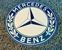MERCEDES BENZ PORCELAIN GAS VINTAGE STYLE SERVICE STATION DEALERSHIP SIGN