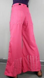 Vintage Rave Hot Pink Flared Trousers Silver Piping  Size S W29  Psy Festival