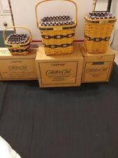 Longaberger- 3 J W Miniature Baskets, Berry, Two-Pie & Waste Basket