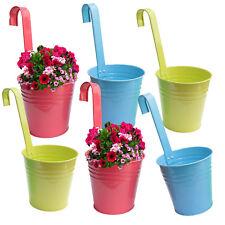 6 x Hängetopf Blumentopf Pflanztopf Hängetöpfe Blumen Topf Kräutertopf Zink bunt