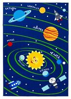 New Soft Educational Solar System Planets / Numbers Reversible Fun Kids Area Rug