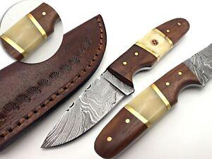 HANDMADE DAMASCUS HUNTING DAGGER KNIFE CAMEL WALNUT WOOD