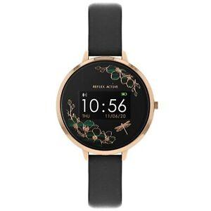 Reflex Active Series 03 Black Dial Leather Strap Ladies Smart Watch RA03-2040