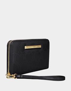 Betsey Johnson XOX Betsey Zip Around Wristlet Wallet Black Patent Laser Hearts