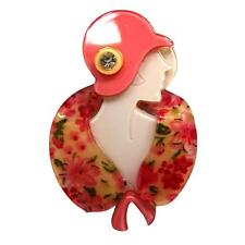 New Lucite Flapper Lady Pink Cloche Hat Stole Arts Vintage Deco Pearlized Brooch