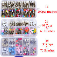 100/200PCS Dental Polisher Prophy Nylon Brushes Cups Rubber Latch (Mixed Color)